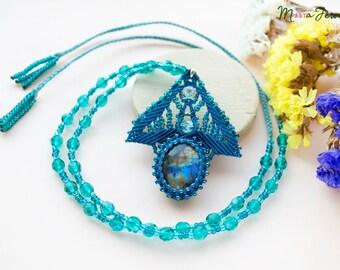 Labradorite, micro-macrame necklace, gemstone, beadwork, bohemian, boho, sea green blue, macrame leaf, minimalist, gems, gift idea for her