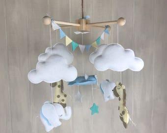 Baby mobile - elephant mobile - giraffe mobile - hot air balloon mobile - baby crib mobile - nursery decor - nursery mobile - gender neutral
