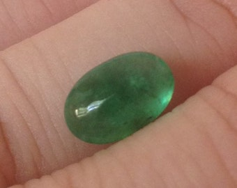 Emerald Cabochon 2.10 Oval 6.5x9.5mm Natural Brazilian Green Gemstone with Video