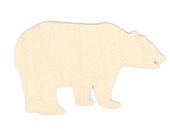 "2"" - 34"" Bear Wooden Cutout Shape, Silhouette, Gift Tags Ornaments Laser Cut Birch Wood  #1015"