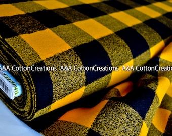 "Mammoth Flannel Fabric, 16943-5 YELLOW Large Plaid Flannel, 2"" Plaid, Apparel fabric, Fabric by Yards, Robert Kaufman Fabrics"