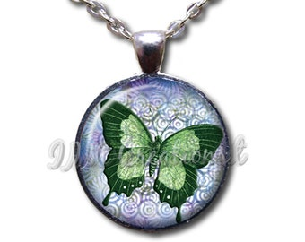 Emerald Butterfly Glass Dome Pendant or with Chain Link Necklace - AN125