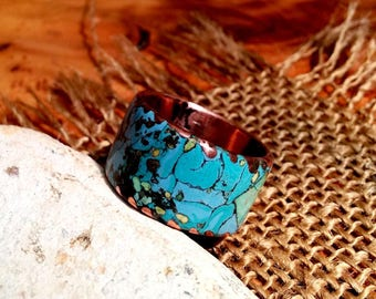 Marbled Verdi Copper  Ring Band.  Turquoise Mix.  14mm Wide. Choice of Wide.