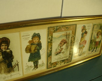 Antique Victorian Trading Cards Post Cards John Hancock Insurance Company Framed 1800's Antique Advertising