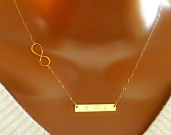 14k gold filled Infinity and initial Bar necklace, personalized necklace, personalized initial bar, perfect gift