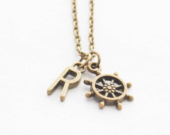 Captain Necklace, Nautical Necklace, Ship Wheel Jewelry, Beach Charm Necklace, Personalized Initial Necklace, Nautical Monogram