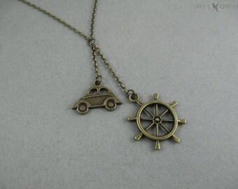 Captain Swan Lariat Necklace - Once Upon a Time - Storybrooke - Emma Swan - Captain Hook - Killian Jones - Ships Wheel - Bronze Charms