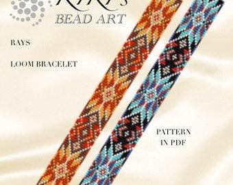LOOM bracelet pattern- Bead loom pattern in PDF, Rays geometric colorful bracelet pattern, instant download
