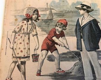 Children on Beach Vintage French Fashion Magazine Newspaper  Le Petit Echo de la Mode July 6, 1913