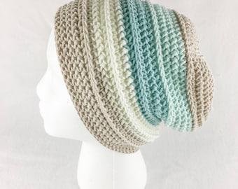 Shiplap Slouchy Beanie // Crochet Hat // Beachglass // Casual