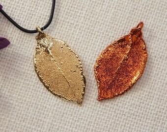 SALE Leaf Necklace, Copper Rose Leaf, Real Leaf Necklace, Silver Rose Leaf, Real Leaf Pendant, Silver Leaf, Holiday Gifts SALE173