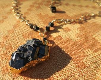 Black Garnet Pendant Necklace