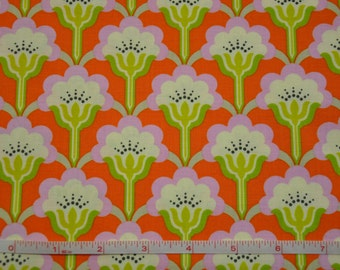 Orange & Green Pop Blossom by Heather Bailey 100% Cotton Quilt Fabric by True Colors / Heather Bailey fabric/ Cotton fabric