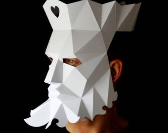 KING of Hearts Mask - Make your own paper mask with this instant download template
