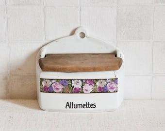 French Vintage Ceramic Matches Box - Shabby chic Floral decor box - Antique country kitchen - French Art-Deco kitchen decor