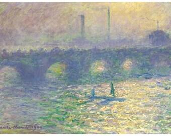 Hand-cut wooden jigsaw puzzle. WATERLOO BRIDGE. Claude Monet. Impressionist. Impressionism. Wood, collectible. Bella Puzzles.