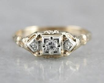 1930's Diamond Ring, Vintage Diamond Ring, Retro Era Ring, Anniversary Ring CPF65P01-P