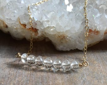 White Topaz Bar Necklace, Microfaceted Beaded Bar Pendant, Gemstone Row Necklace, White Topaz Jewelry, Simple Necklace, Gold Chain Necklace