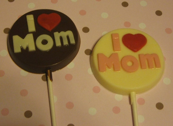 One dozen I Heart Mom lollipop sucker party favors mothers day birthday gifts