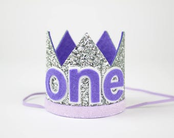 ONE Birthday Crown | First Birthday Cake Smash Photo Prop | Glitter Party Hat | Silver + Purple ONE