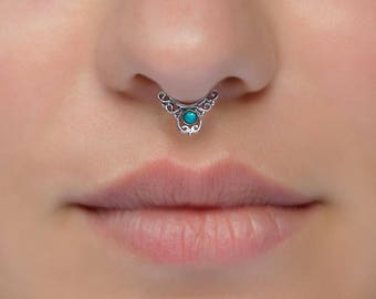 Tiny fake silver septum ring for non pierced nose. Turquoise. Tribal. Tiny faux septum. Fake piercing.