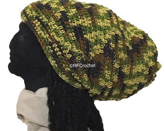 Made to Order Ships 1-2 Business Days - Oversized Green Camo Beanie for Big Head, Camouflage, Long Hair, Locs, Dreadlocks, Extra Large