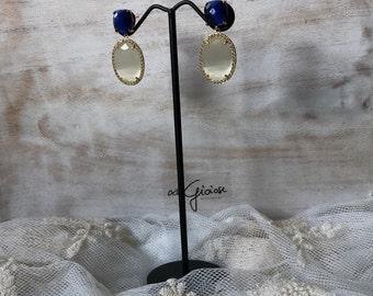 Blue earrings, cat eye earrings, jewel earrings, gift earrings/Bjioux jewelry/handmade/wedding