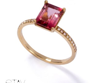 Unique engagement ring - Diamond engagement ring ,14k gold ring, Tourmaline ring, Solitaire ring, Emerald cut engagement ring
