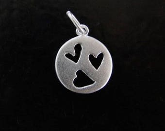 One Sterling Silver Cutout Heart Circle Charm 11x13mm, Made in India, SC75
