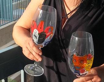 wine glasses hand painted set of 2 / Mask Theatre / Handpainted gift Custom glasses / Glass painting / Girlfriend Boyfriend birthday gift