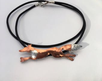 Copper fox pendant necklace. Hammered copper fox with sterling silver on brown leather cord