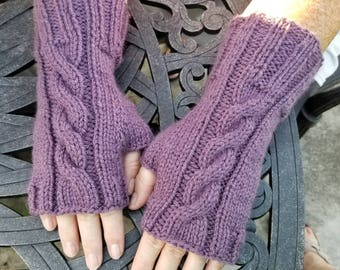 Purple Cable Knit Fingerless Gloves - Handmade Fingerless Gloves - Wristwarmers - Arm Warmers - Women's Accessories -