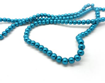 Set of 40 4mm teal glass beads