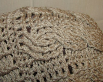 Oatmeal Crochet Cable Knit Beanie