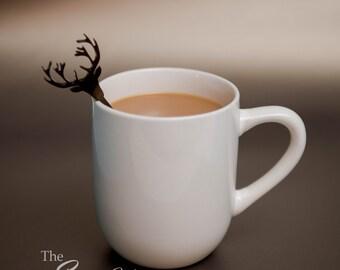 20 Deer Head Antler Drink Stirrers, Laser Cut Rustic Wedding Bar Coffee Drink Stirrers Swizzle Sticks