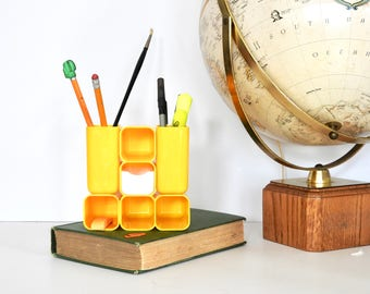 Mod Space Age Plastic Yellow Desk Accessory