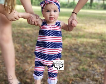 4th Of July Romper,Red White and Blue Romper,Baby Romper,Girls Romper,Baby Girl Romper,Kids Romper,Girls Clothes,Baby Clothes,4th Of July