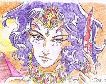 Isis Egyptian Goddess anime concept art
