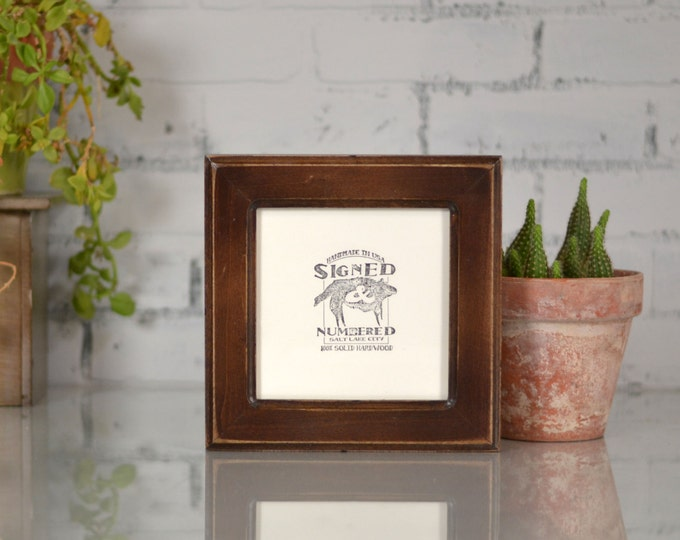 6x6 Square Picture Frame in Wide Double Cove Style with Vintage Dark Wood Tone Finish - Can Be Any Color - Handmade 6x6 Photo Frame