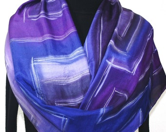 Silk Scarf Hand Painted Silk Shawl Purple Lavender Hand Dyed Silk Scarf NIGHT TEMPLE Large 14x72 Birthday Gift Scarf Gift-Wrapped Scarf