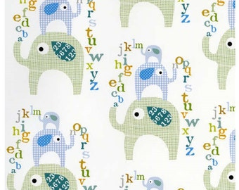 Sale  Le Elephant Stacked Elephants White Light Mint - Ellen Crimini-Trent  Collection - Clothworks Fabric- Designer Fabric By the Half Yard