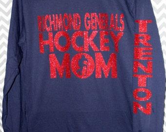 Personalized Hockey Mom Shirt Glitter Vinyl