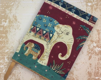 A5 Lined Notebook Hand Covered in a contemporary Oriental Style Elephant Fabric
