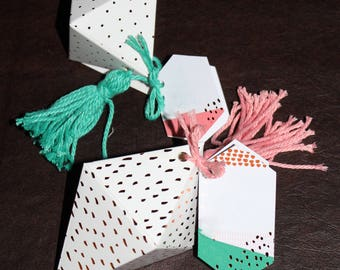 8 Party Favor Boxes Diamond Shaped Party Take Away Boxes Gem Diamond Boxes With Tassels n Tags Pick Your Tassel Color And Tag Stamp