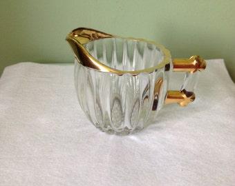 Vintage Glass Creamer Trimmed in Gold