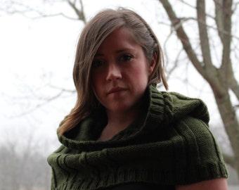 DIGITAL Download, knit hood, knit cowl, KNITTING PATTERN, The Arrow Hood,