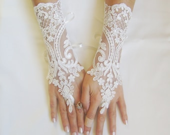 Ivory  Wedding gloves bridal gloves lace gloves fingerless gloves french lace gloves 0027