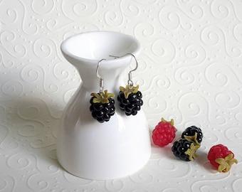 Blackberries earrings, polymer clay food earrings, berries earrings, polymer clay blackberries