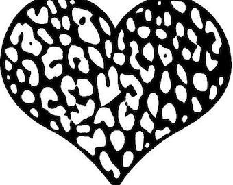 Cheetah Heart Vinyl Sticker Decal