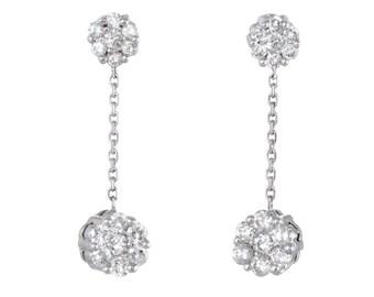 Diamond Flower Cluster Dangle Earrings Estate 14k White Gold Fine Vintage